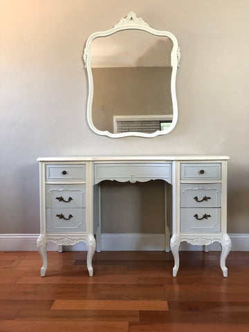 Antique French Provincial Two Tone Make Up Vanity W Mirror