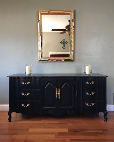 Navy Blue French Provincial Dresser Buffet