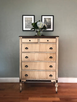 15% OFF - Antique White Two Tone Highboy Chest of Drawers