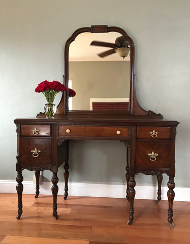 Restored Antique Make Up Vanity w/ Mirror and Chair
