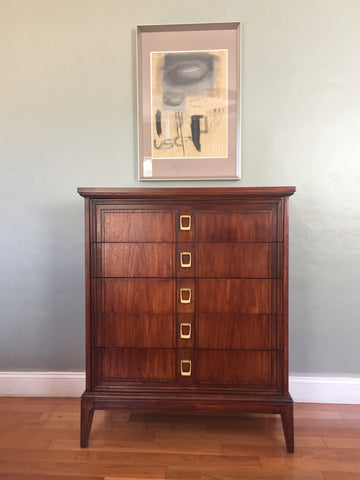 Mid Century Solid Wood Highboy Dresser Chest of Drawers