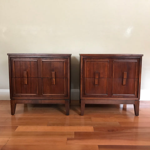 Set of Restored Mid Century Modern Solid Wood Nightstands