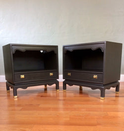 Set of Charcoal Black Mid Century Solid Wood Nightstands