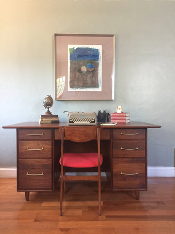 Mid Century Modern Walnut Executive Desk by Prelude