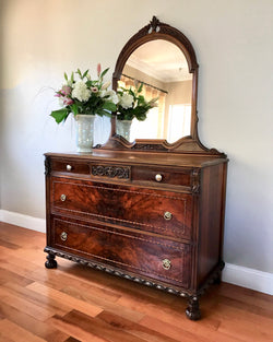 Restored Antique Vanity Dresser with Mirror