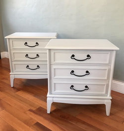 Set of Soft Gray Mid Century Solid Wood Nightstands