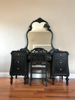 Restored Black Antique Make Up Vanity by Joerns Brothers