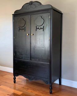 FREE SHIPPING! Restored Antique Black Armoire Cabinet