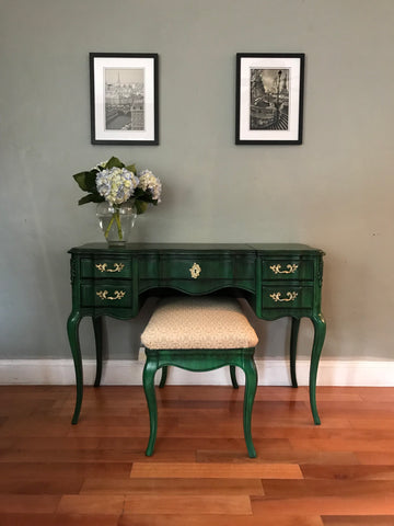 Vintage Solid Wood Vanity Desk with Mirror and Bench
