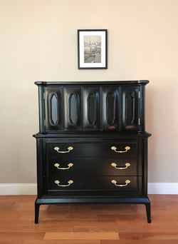REDUCED! Black Solid Wood Dresser Highboy Chest