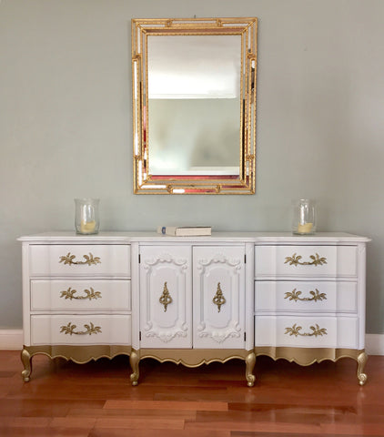 MARKED DOWN! White and Gold Thomasville French Provincial Dresser Buffet