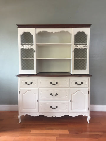 White Vintage French Provincial Cupboard Kitchen Hutch