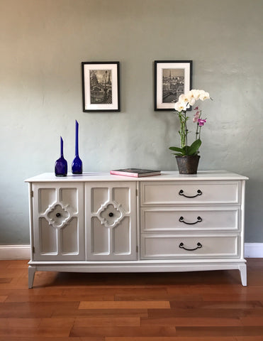 Soft Gray Solid Wood Mid Century Dresser Buffet Sideboard