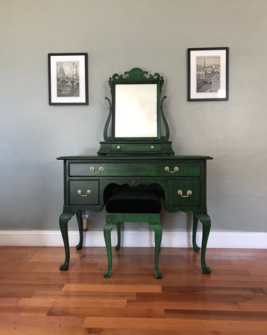 Vintage Queen Anne Vanity Desk with Mirror and Stool