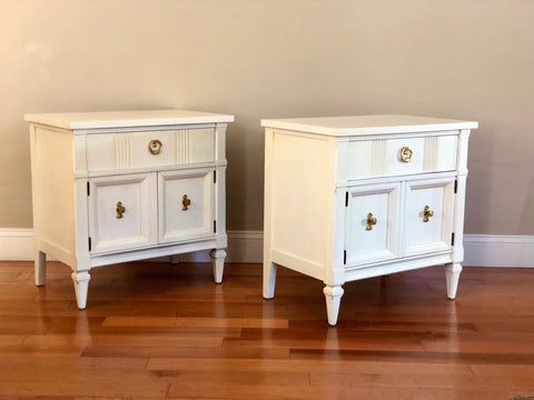 Set of Off White Mid Century Solid Wood Nightstands