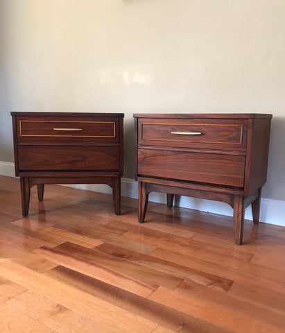Set of Restored Mid Century Modern Solid Wood Dixie Nightstands