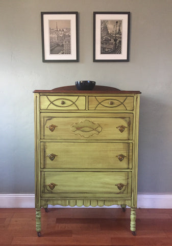 Apple Green Antique Highboy Chest of Drawers