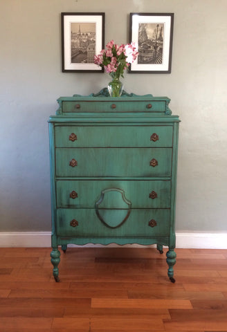 Antique Teal Highboy Chest of Drawers Dresser