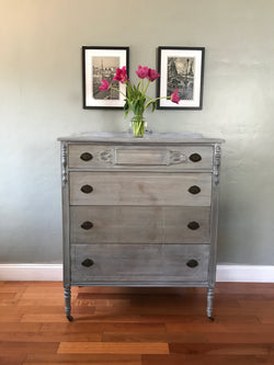 Weathered Gray Antique Highboy Chest of Drawers