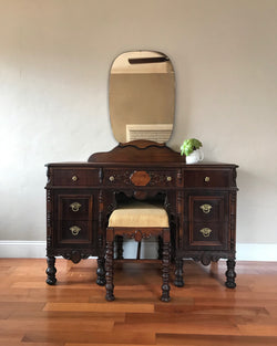 Restored Antique Make Up Vanity with Bench and Mirror