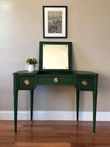 Vintage Louise XVI Style Emerald Make Up Vanity with Flip Top Mirror
