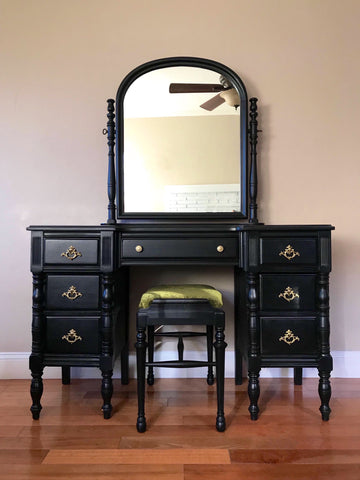 Black Antique Make-up Vanity with Mirror and Seat