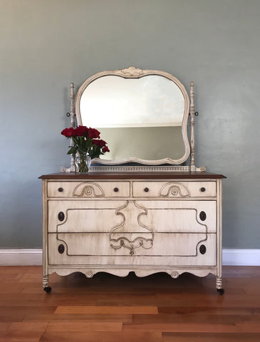 Antique White Vanity Dresser with Mirror