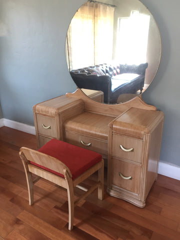 Vintage Art Deco Waterfall Makeup Vanity with Bench