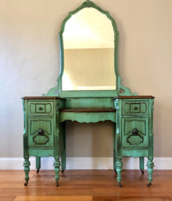 Teal Antique Make-up Vanity with Mirror