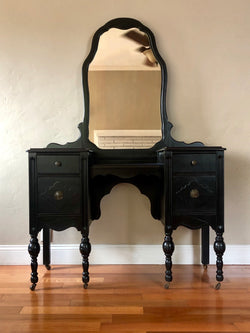 Black Antique Make-up Vanity with Mirror
