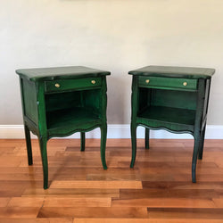 Set of Drexel Dark Emerald Vintage Nightstands Bedside Tables