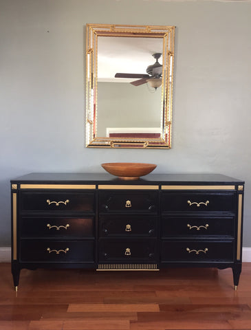 American Martinsville Navy and Gold Dresser Credenza