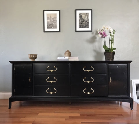 Black Thomasville Solid Wood Dresser Buffet Sideboard Eclectic