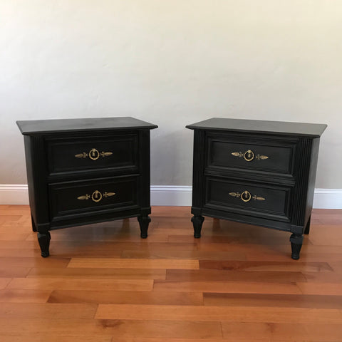 Set of Mid Century Solid Wood Nightstands