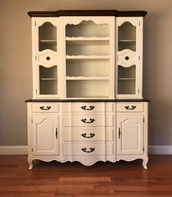 White Vintage French Provincial China Cabinet Kitchen Hutch