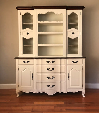 Merveilleux White Vintage French Provincial China Cabinet Kitchen Hutch