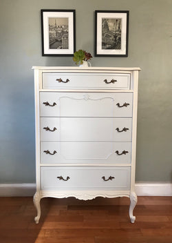 Antique French Provincial Two Tone Highboy Chest of Drawers