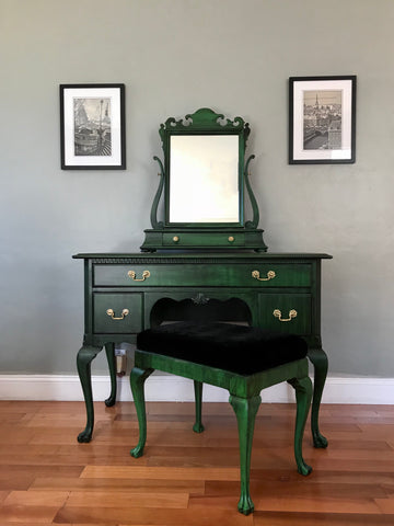 Vintage Queen Anne Vanity Desk With Mirror And Stool Eclectic Home Living