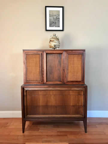 Mid Century Modern Solid Wood Highboy Dresser Wardrobe
