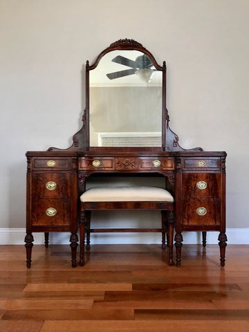 Restored Antique Vanity with Mirror and Bench