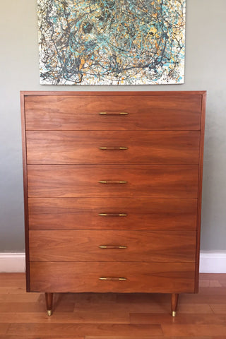 Mid Century Modern Walnut Highboy Chest of Drawers