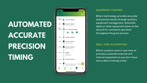 Bifarm technology provides accurate and precise results through auxiliary equipment management. Automate lights or other equipment down to the second for consistent operation throughout the grow process.