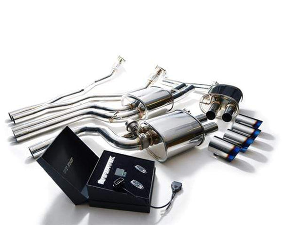 ARMYTRIX Stainless Steel Valvetronic Catback Exhaust System Quad Blue Tips Audi S4 | S5 3.0L TFSI 09-15