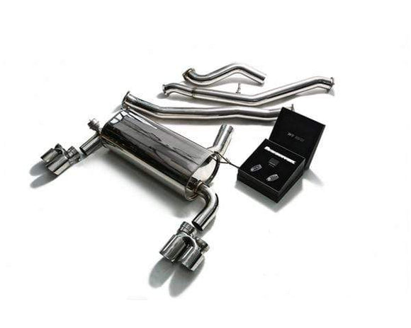 ARMYTRIX Stainless Steel Valvetronic Catback Exhaust System Quad Chrome Silver Tips 3-Series | 4-Series F3x 12-15
