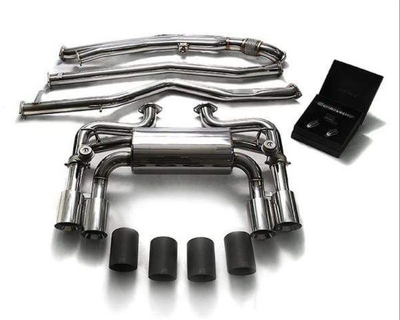 ARMYTRIX Stainless Steel Valvetronic Catback Exhaust System Quad Matte Black Tips BMW M2 F87 17+