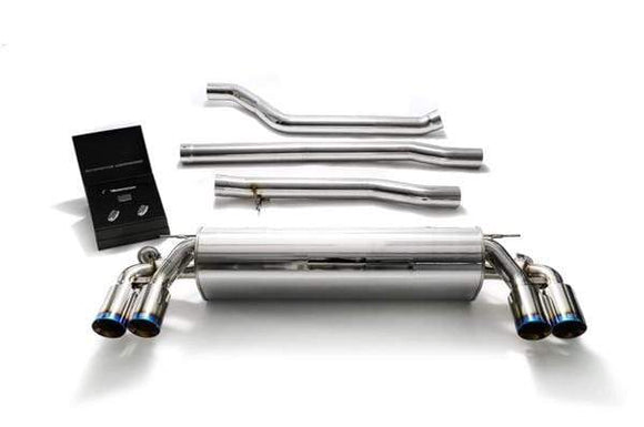 ARMYTRIX Stainless Steel Valvetronic Catback Exhaust System Quad  Blue Coated Tips BMW 520i | 530i G3X 17-18