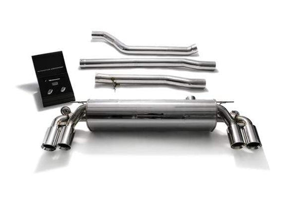 ARMYTRIX Stainless Steel Valvetronic Catback Exhaust System Quad Chrome Silver Tips BMW 520i | 530i G3X 17-18