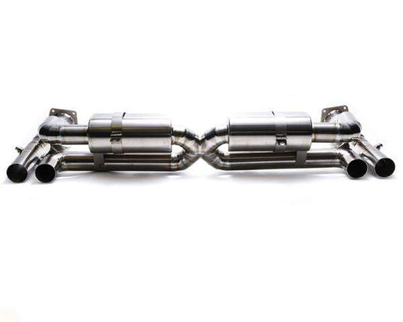 ARMYTRIX Stainless Steel Valvetronic Exhaust System Quad Matte Black Tips Porsche 997 Turbo 07-09