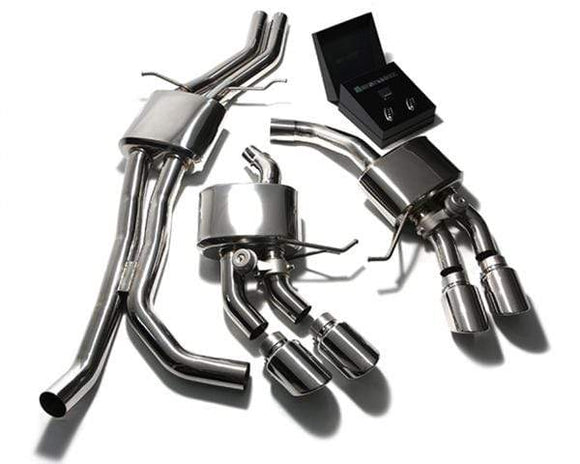 ARMYTRIX Stainless Steel Valvetronic Exhaust System Quad Chrome Silver Tips Porsche Macan S | GTS | Turbo 15+