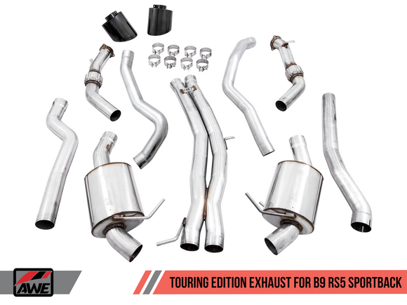 AWE Touring Edition Exhaust Non-Resonated w/ Diamond Black Tips - Audi B9 RS5 Sportback